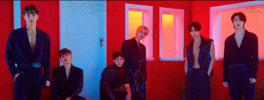 The members of MONSTA X — Shownu, Kihyun, Joohoney, Minhyuk, I.M. and Hyungwon (from left to right) — pose for a teaser for the MV of