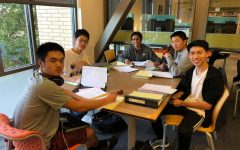 Senior Tae Kyu Kim studies with his friends for an upcoming AP Calculus BC test.
