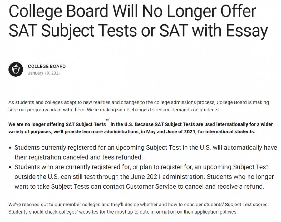 The College Board announces cancellation of SAT Subject Tests and SAT optional essays.