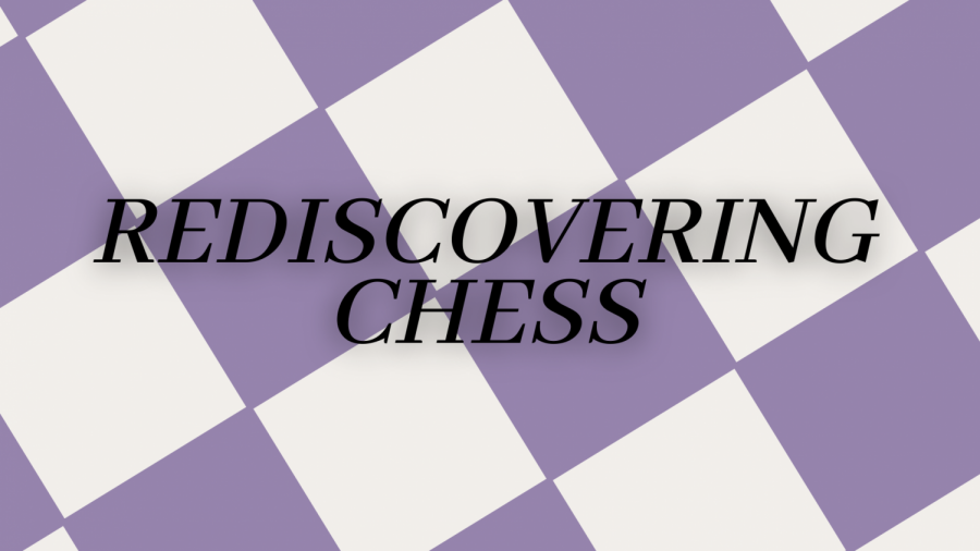Graphic of title with a lilac and beige checker background.