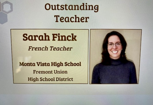 French+teacher+Sarah+Finck+received+the+California+Language+Teacher+Association+%28CLTA%29+2021+Outstanding+Teacher+Award+at+a+virtual+award+ceremony+called+Celebrating+the+Best+of+Us+on+Feb.+28.+Photo+courtesy+of+Sarah+Finck+%2F%2F+Used+with+permission