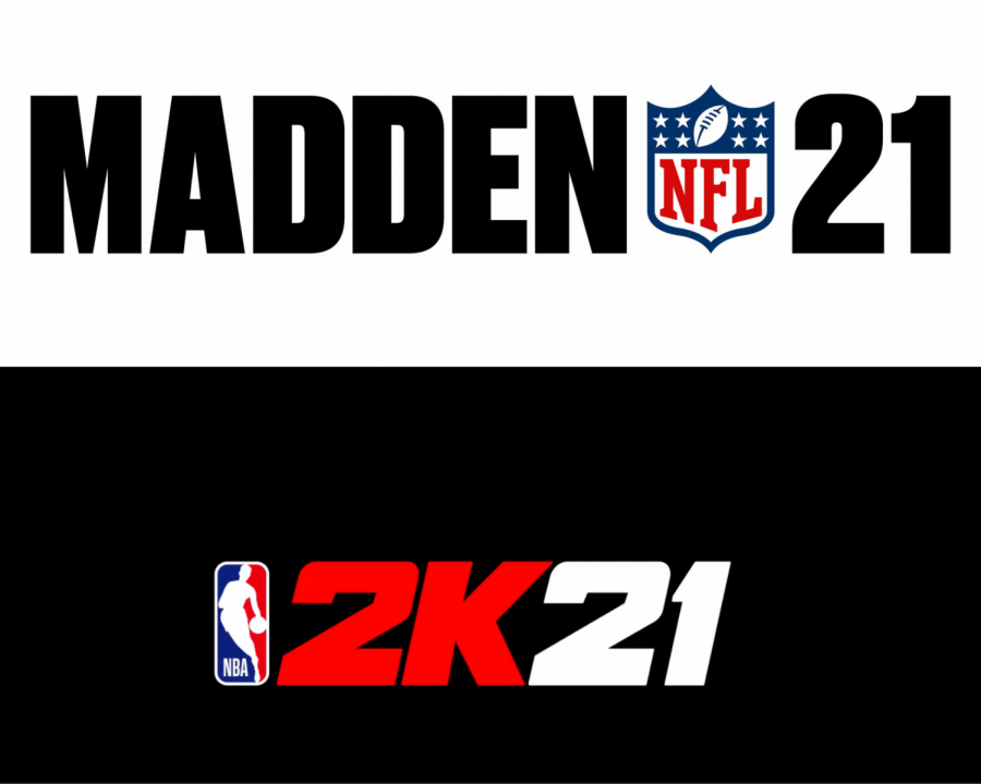The most recent iterations of the Madden and NBA 2K, released in 2020. Photos by EA Sports and 2K Sports.