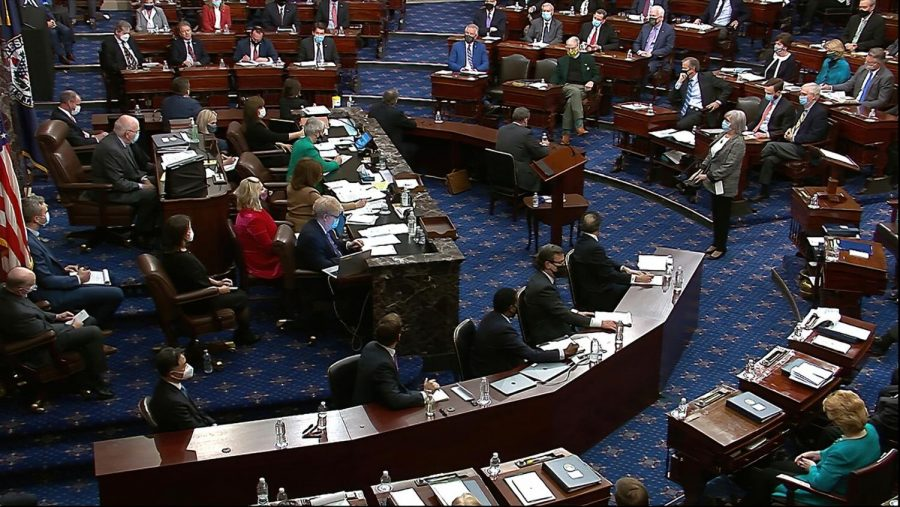 Senators gather to vote during Trump's second impeachment trial at the U.S. Capitol in Washington. Image from video