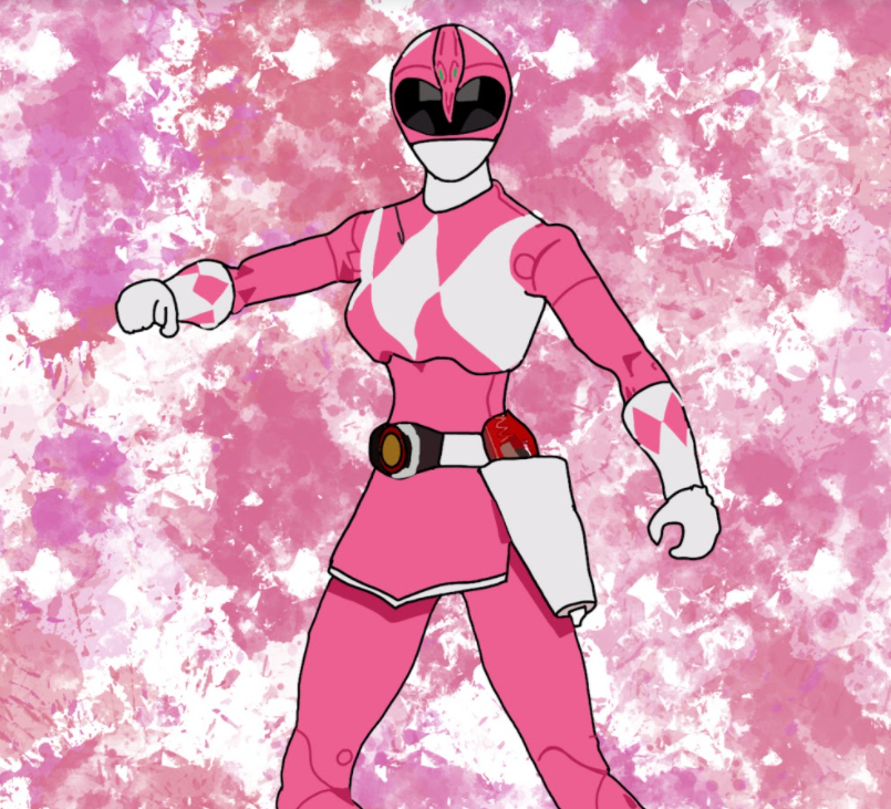 An illustration of the pink Power Ranger from the children's television show Mighty Morphin Power Rangers