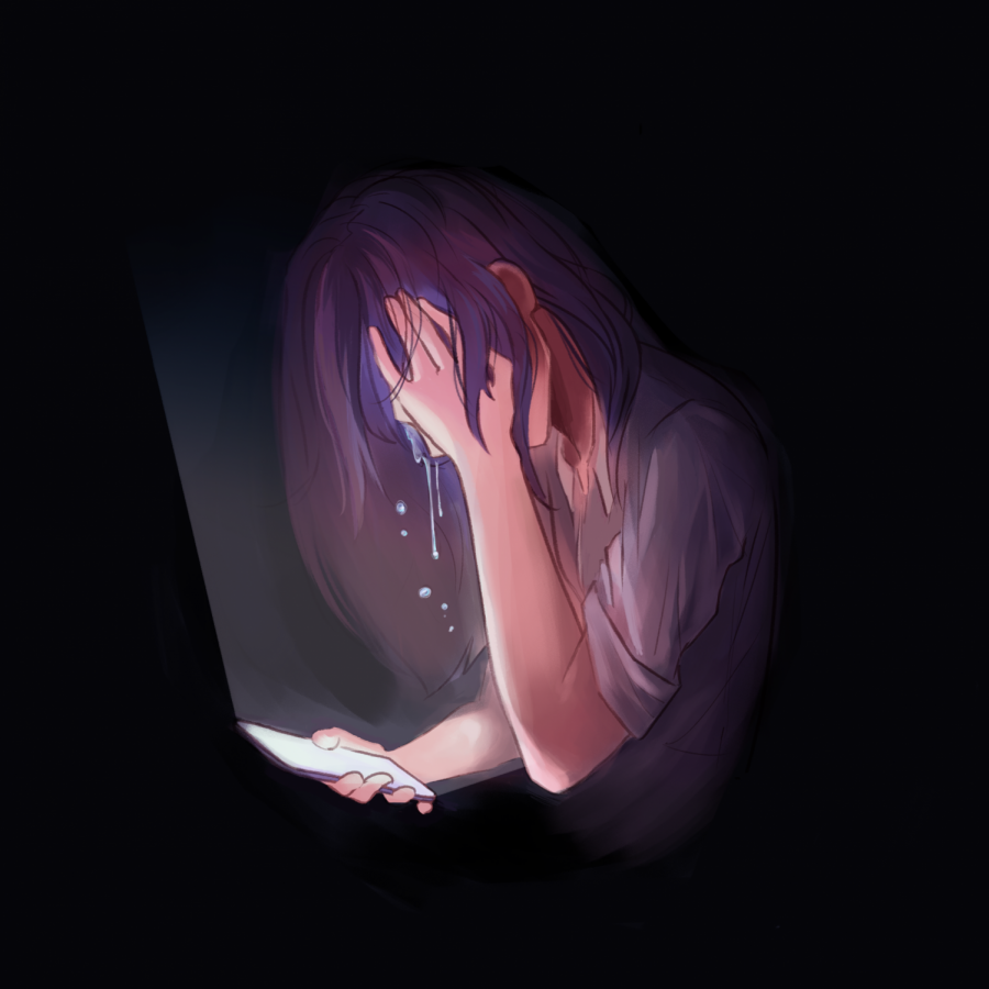 Illustration of a girl crying  while on the phone | By Sophia Ma