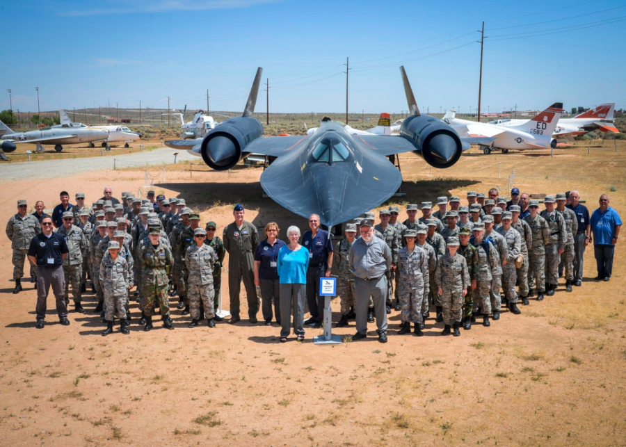 Civil Air Patrol cadets stand in front of a SR-71 jet at California Wing's Aerospace Education STEM Academy, where cadets from across the state spend a week on Edwards Air Force Base and learn about STEM concepts through tours, hands-on labs and more.