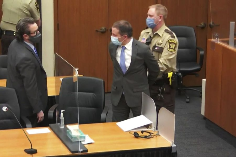 Former police officer from Minneapolis, Derek Chauvin, is escorted from the trial hall where he was found guilty for the murder of George Floyd