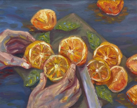 An oil painting of oranges done by MVHS alumnus Brett Park