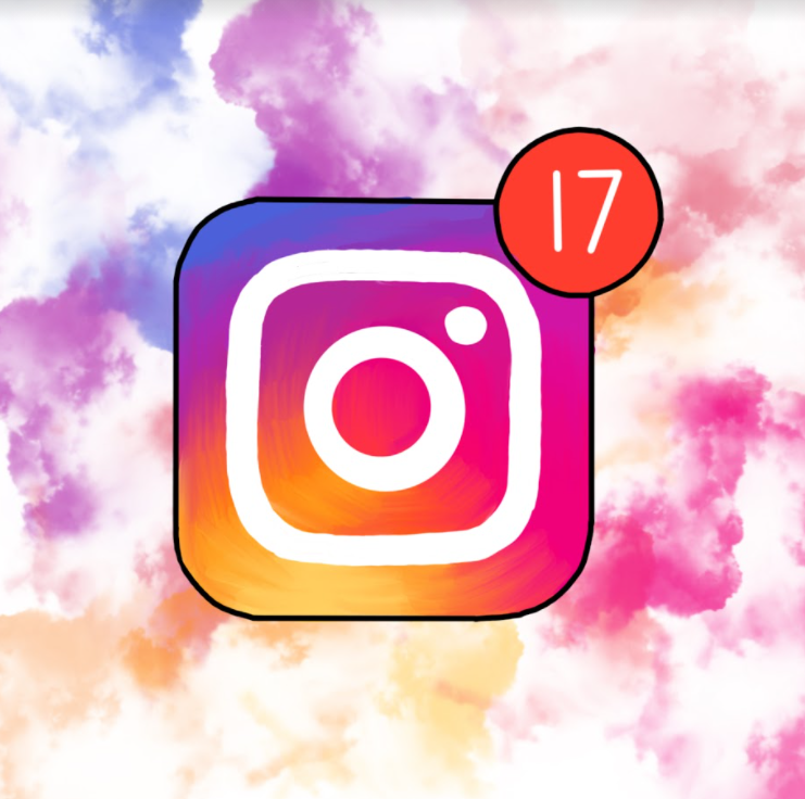 An illustration of the Instagram logo with 17 notifications that represent unread messages