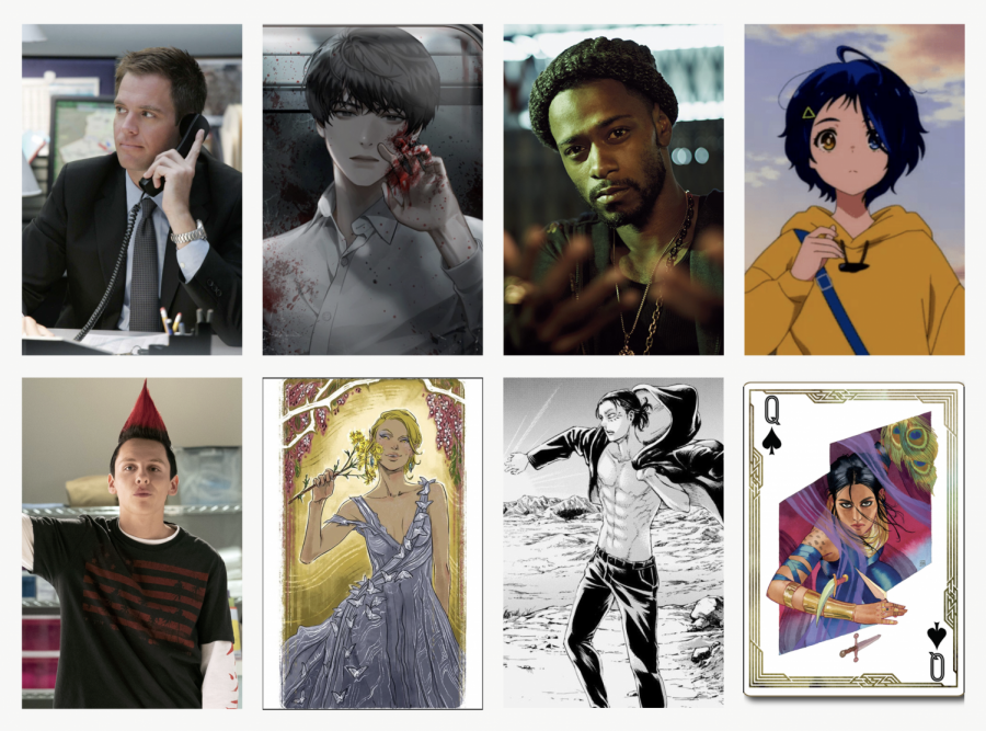 A graphic created with Canva featuring eight MVHS students' favorite characters