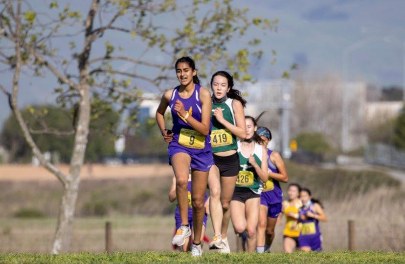 Jasmine Varma leads a pack of runners at a SCVAL race at Baylands Park