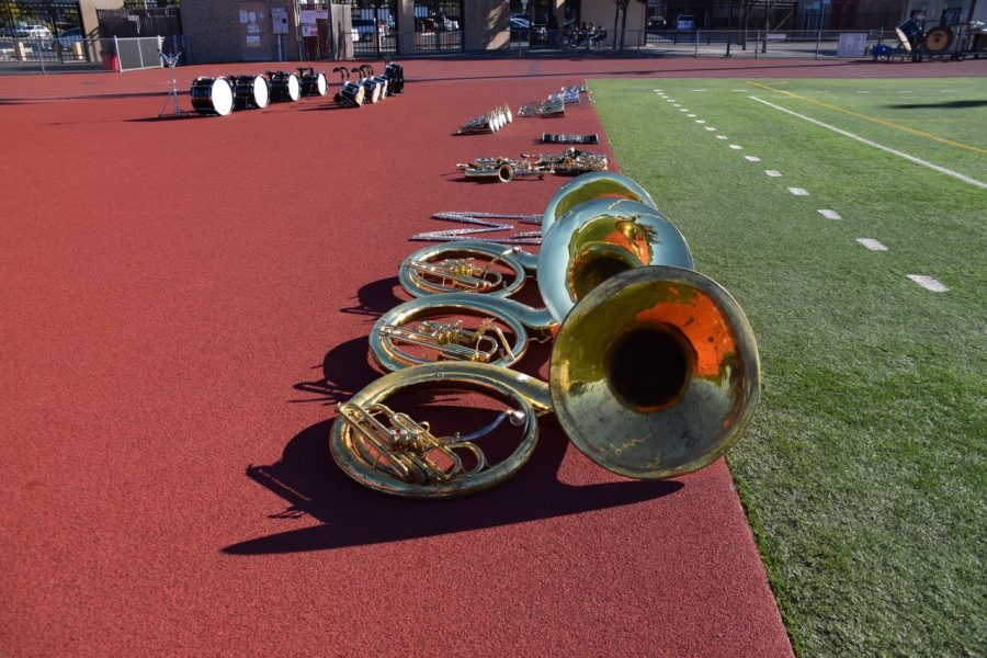 Marching+band+equipment+lined+up+on+MVHS+track+field+%28photo+used+with+permission%29