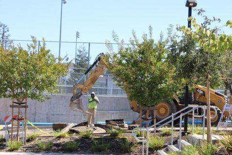 Construction in front of the tennis courts and main gym.