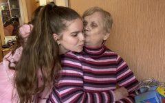 Senior Sophia Bokovikova poses beside her grandmother in Novosibirsk, Russia.