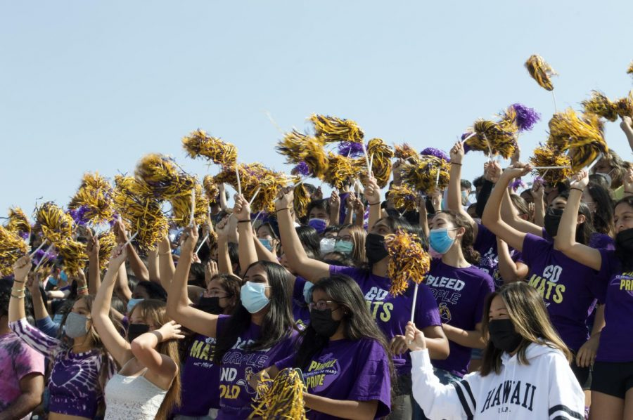 The Class of 2022 wins the 15 second chant-off at the Welcome Back Rally. Photo by Aditya Shukla