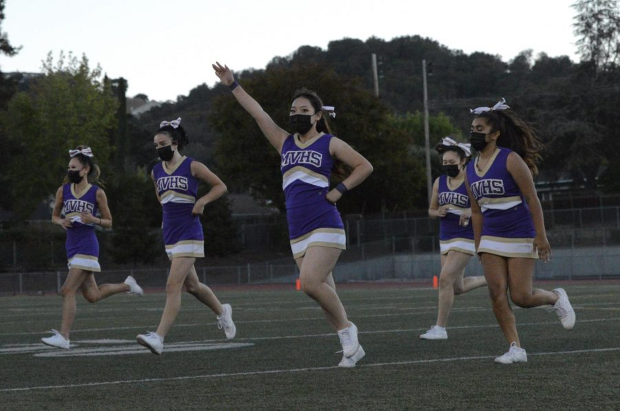 MVHS cheer team performed during halftime.