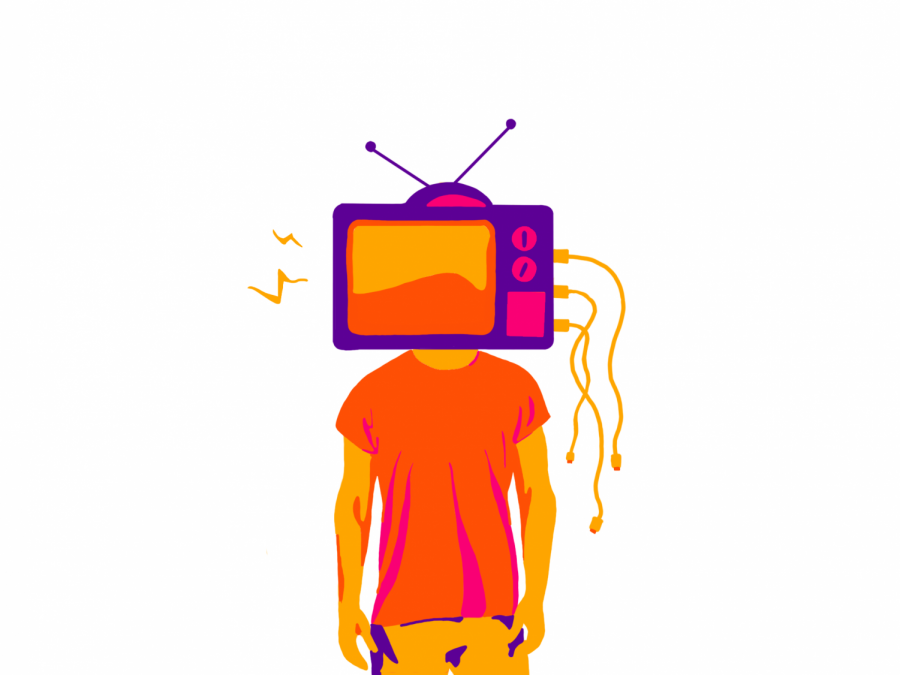 An illustration of an individual with a TV on their head | Graphic by Kripa Mayureshwar