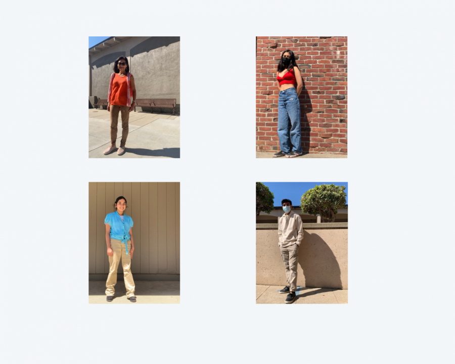 A graphic created on Canva featuring the outfits of 4 MVHS students and staff.