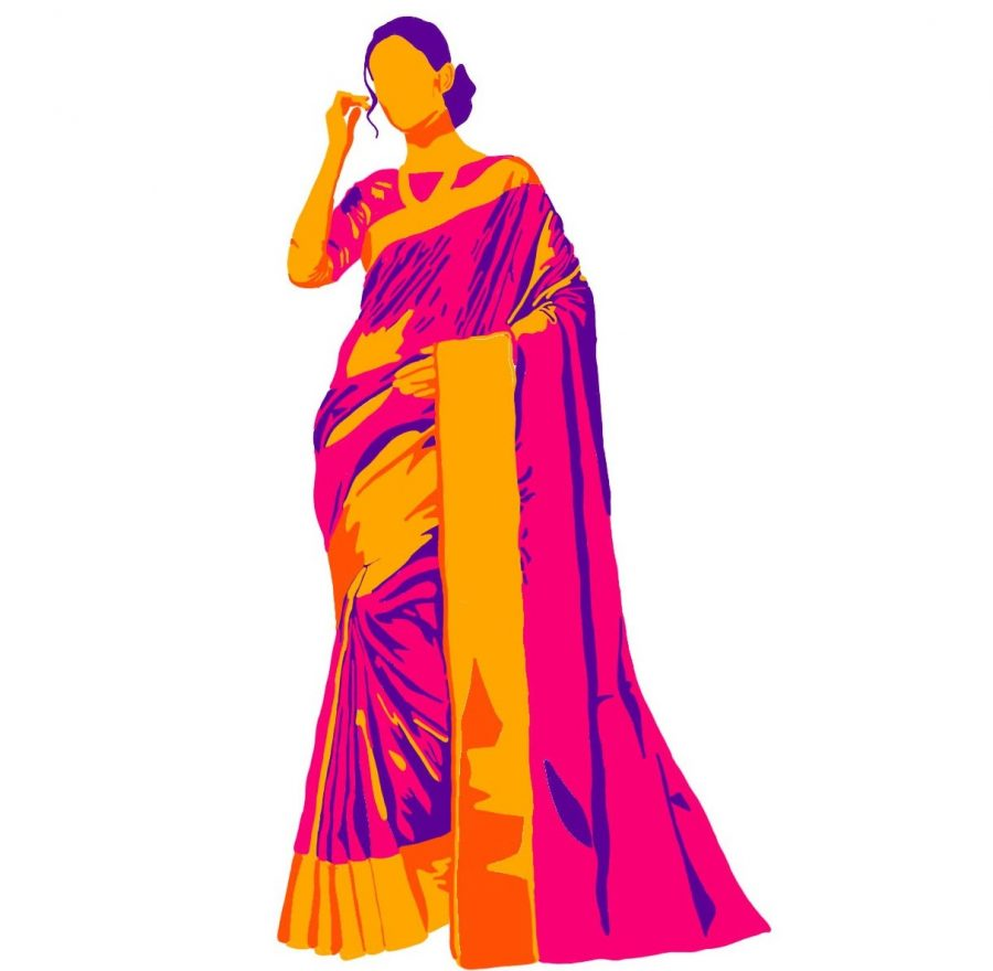 Illustration of a woman wearing a saree, a traditional Indian outfit