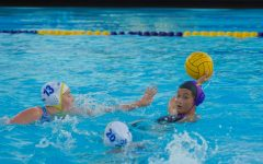 Senior Sophia Fu swims backwards to distance herself from SCHS players before passing the ball.