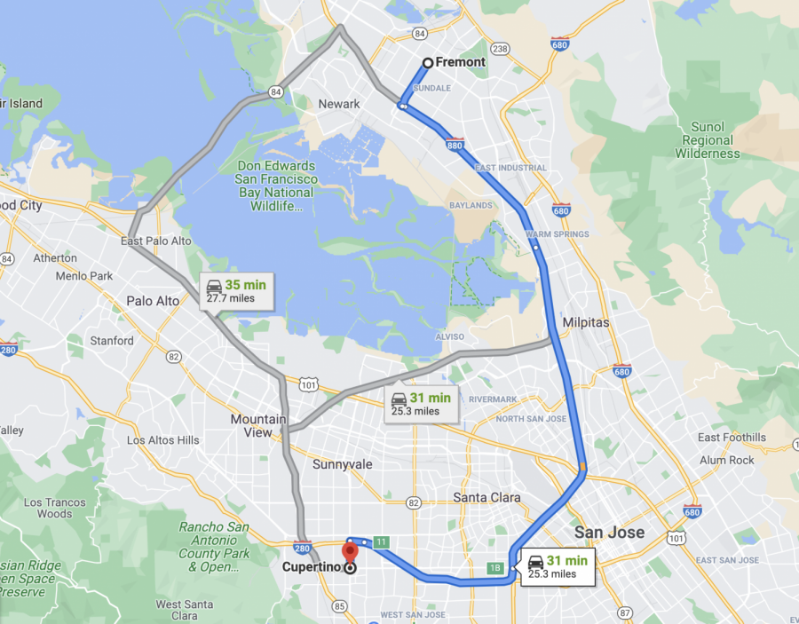 The distance from Fremont to Cupertino shown by Google Maps.
