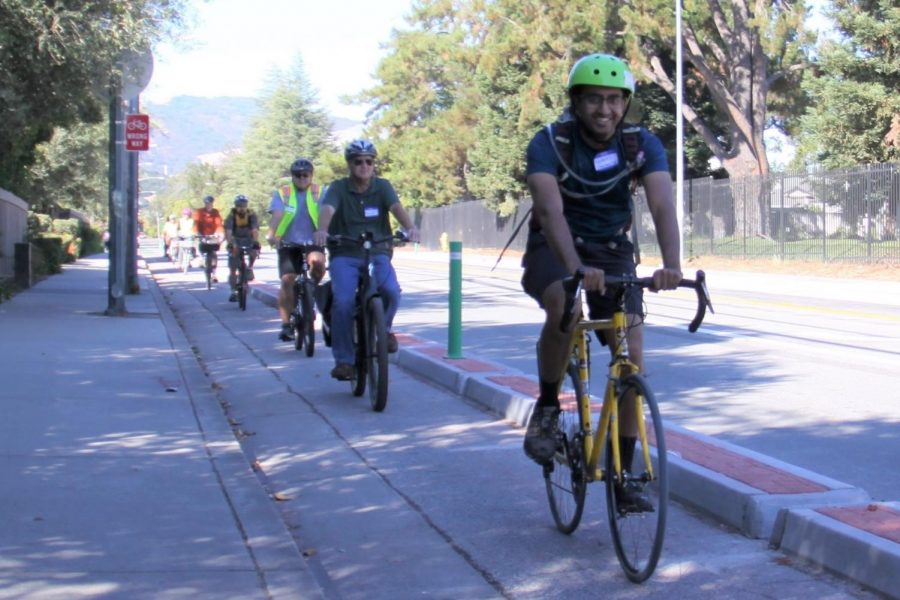 Cyclists use the separated bike lane on McClellan Road to avoid possible car accidents. Photo courtesy of the City of Cupertino