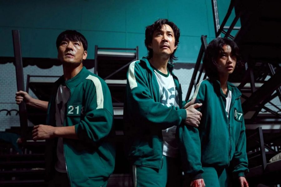Squid Game characters Cho Sang-woo, Seong Gi-hun and Kang Sae-byeok (pictured left to right)